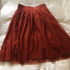 Orange tulle and lace skirt
